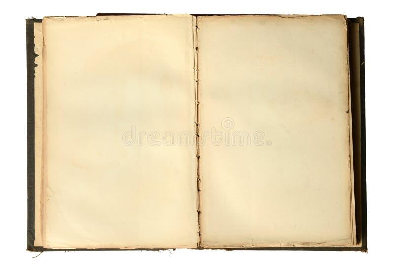 开张与空白页的葡萄酒书 免版税库存图片