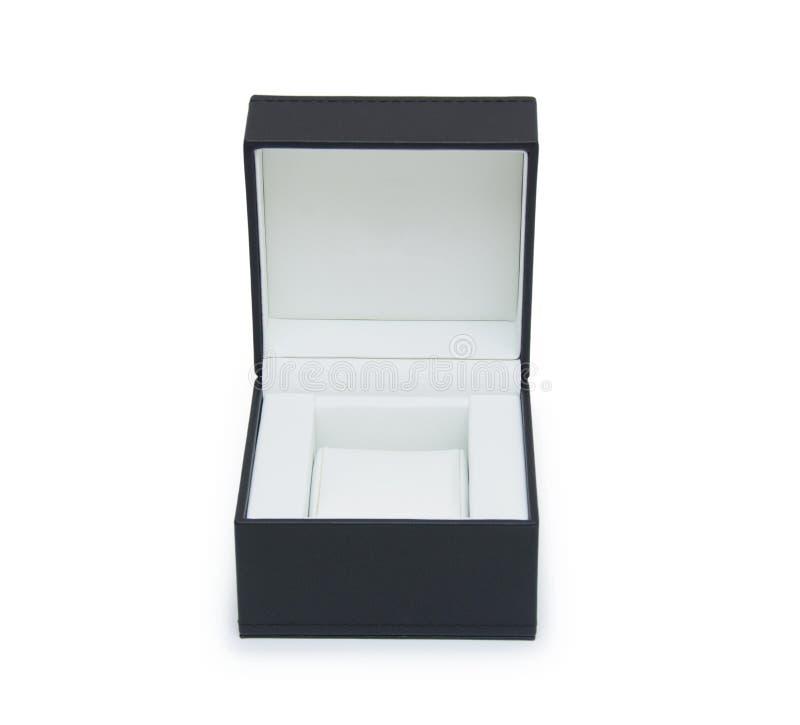 开张在白色查出的黑色礼物盒 免版税库存照片