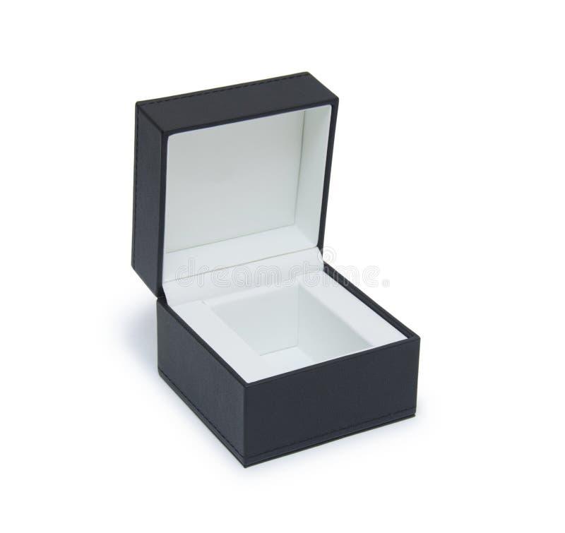 开张在白色查出的黑色礼物盒 库存图片