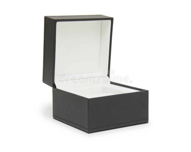 开张在白色查出的黑色礼物盒 库存照片