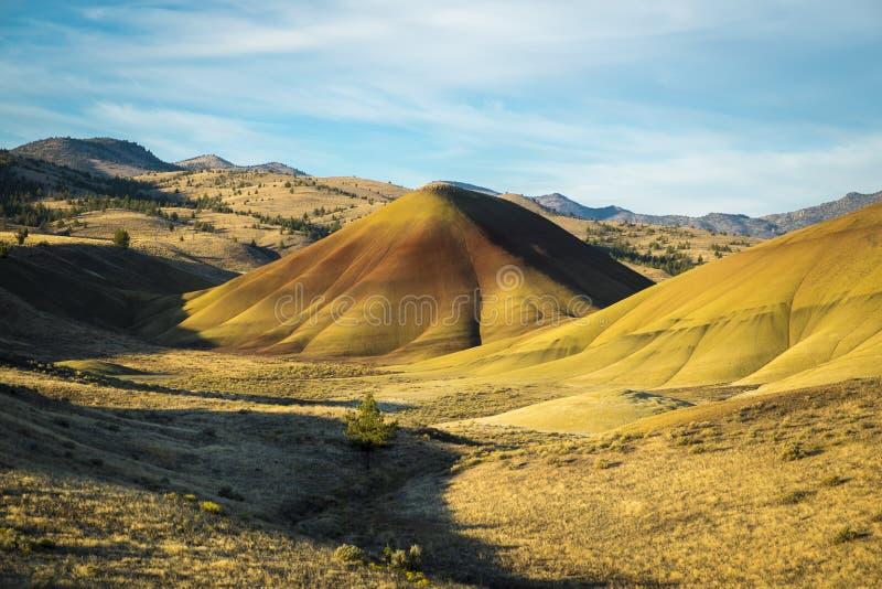 离开形状和颜色,被绘的小山,俄勒冈 库存图片