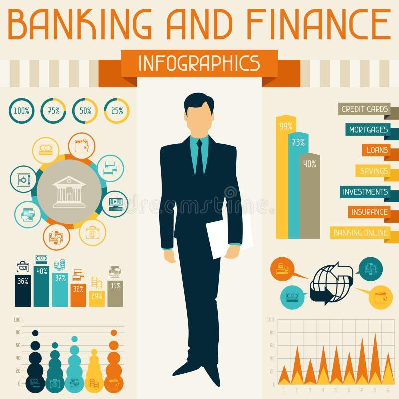 开户和财务infographics 向量例证