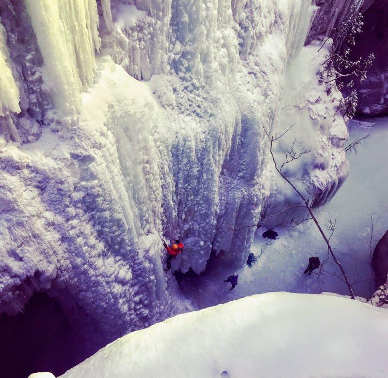 开掘与他们的冰块夹子和起重吊钩的冰登山人作为 免版税图库摄影