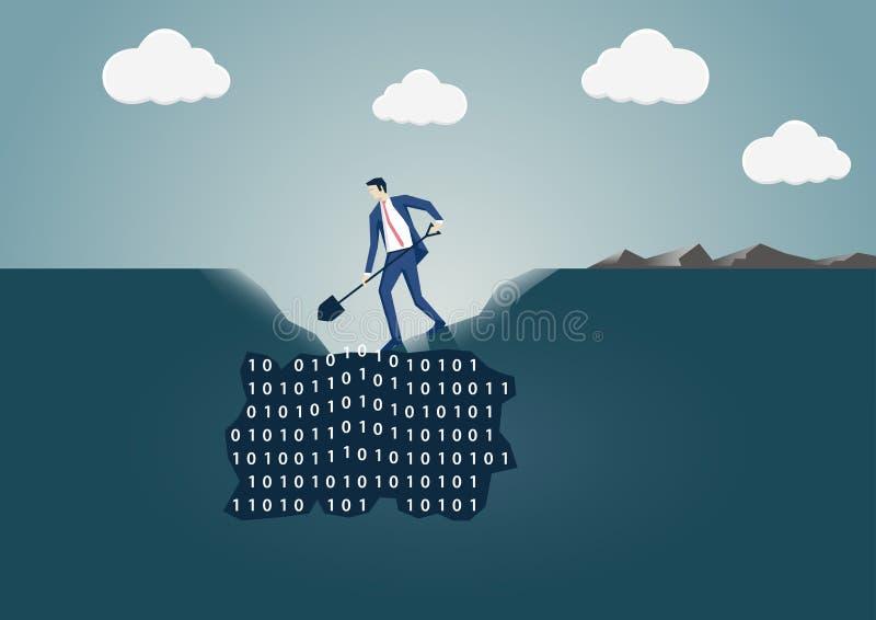 开掘在地面的商人一个孔搜寻有用的信息 皇族释放例证