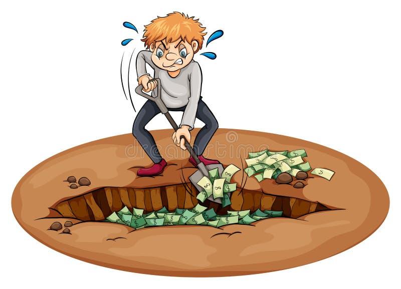 开掘在坑的一个人金钱 皇族释放例证