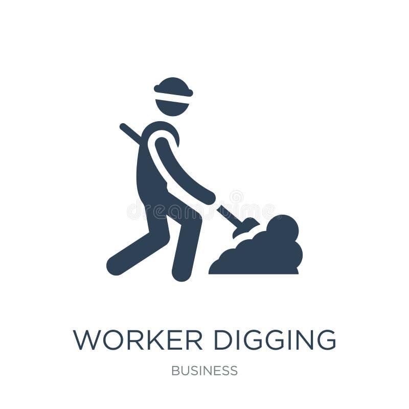 开掘在时髦设计样式的工作者一个孔象 开掘孔象的工作者隔绝在白色背景 开掘孔的工作者 向量例证