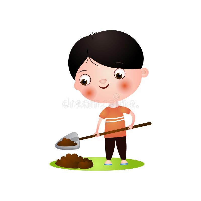 开掘在有铁锹的庭院里的逗人喜爱的微笑的深色的男孩 库存例证