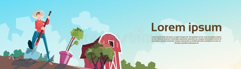 开掘在领域,农田乡下风景的农夫 皇族释放例证