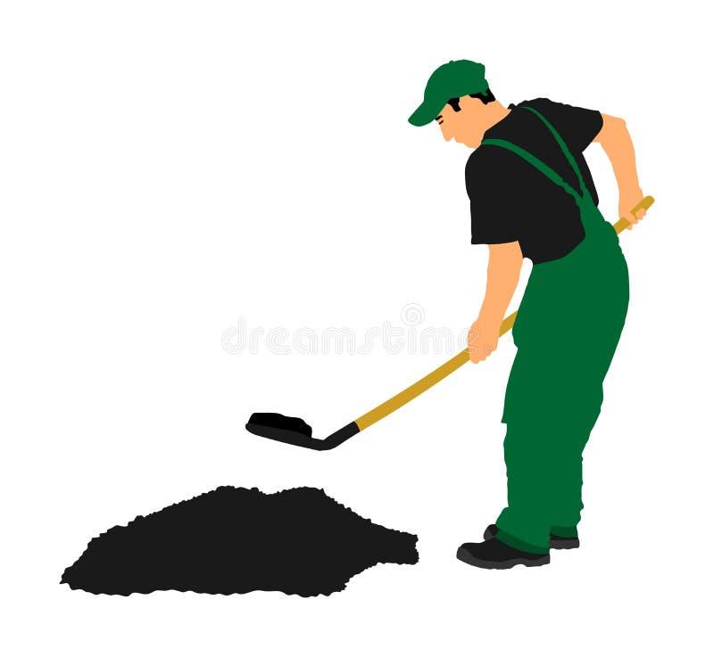 开掘地球例证的花匠 有地面的肮脏的锹 工作在庭院里的人 有锹的建筑工人 向量例证