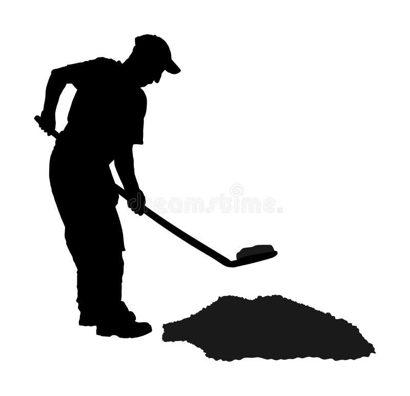 开掘地球剪影例证的花匠 有地面的肮脏的锹 向量例证