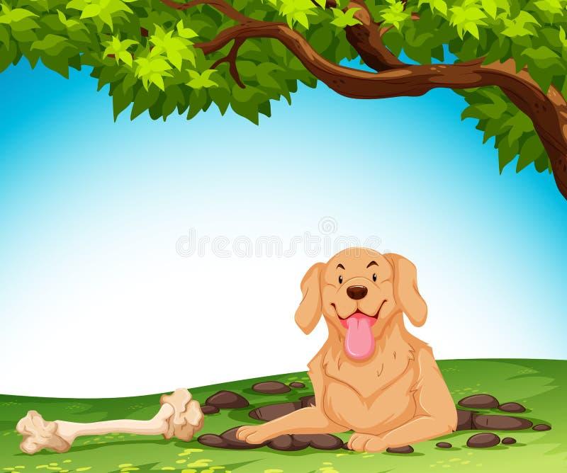 开掘地面的狗 库存例证