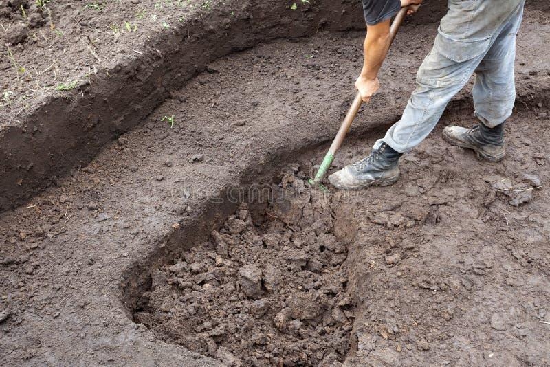 开掘坑的工作者 关闭 免版税库存图片