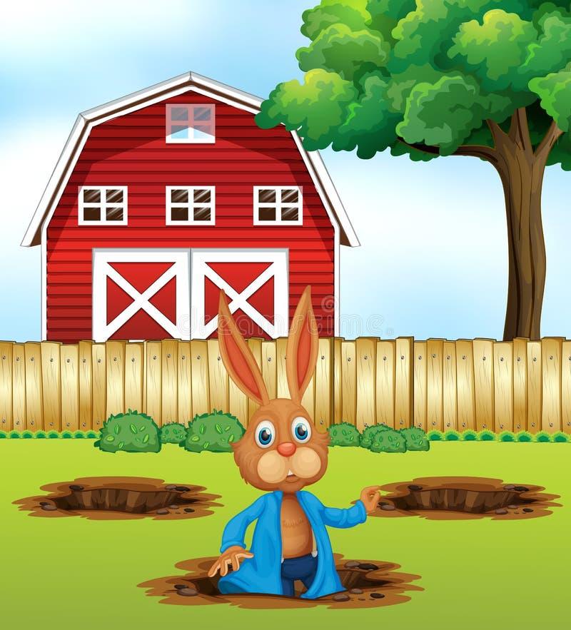 开掘孔的兔子 库存例证