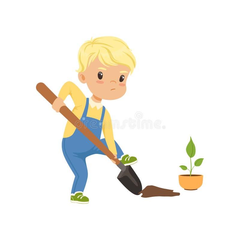 开掘孔的逗人喜爱的小男孩字符由铁锹种植幼木在白色背景的传染媒介例证 库存例证