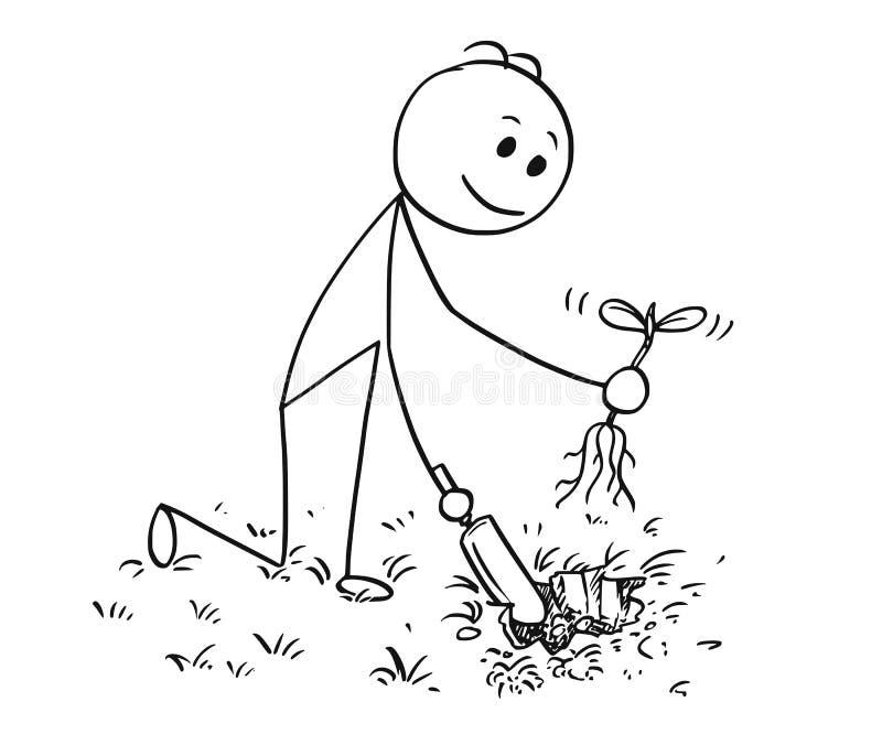 开掘植物的花匠动画片一个孔 库存例证