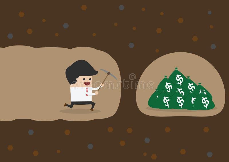 开掘的商人发现金钱 皇族释放例证