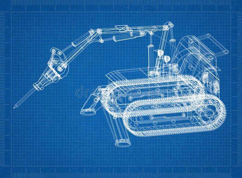 开掘的机器3D图纸 库存例证