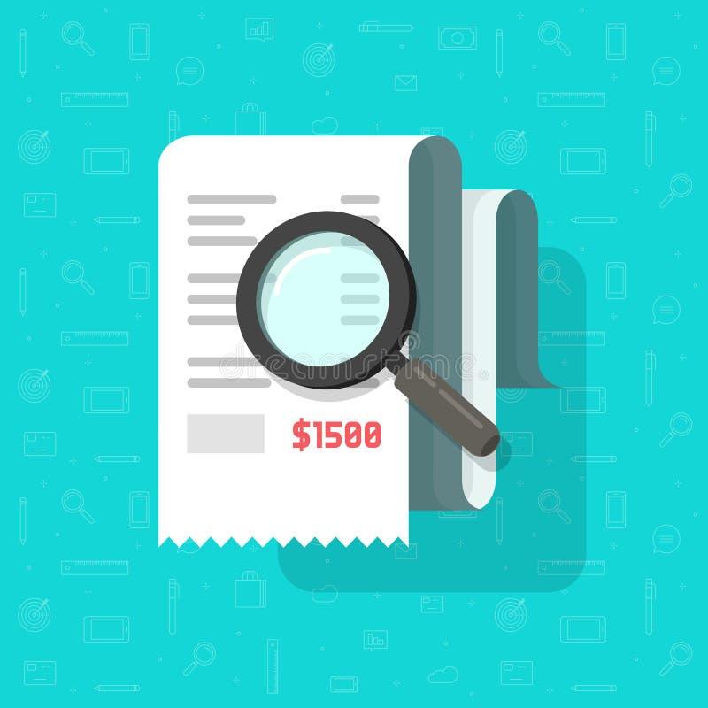 开收据与放大镜传染媒介例证,平的动画片税收法案文件分析,费用费用的概念 库存例证