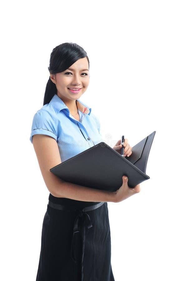 开放一名新确信的亚裔微笑的女实业家 库存照片