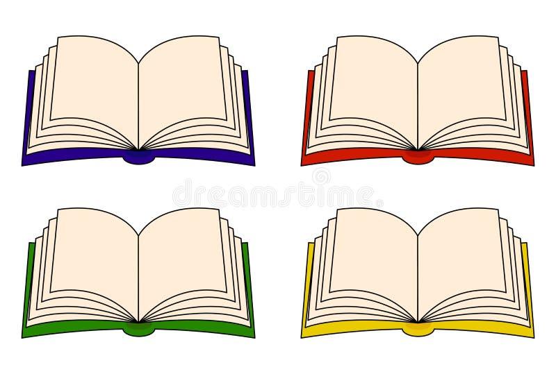 开放书传染媒介clipart集合,标志,象设计 背景钝齿轮例证查出的白色 库存例证