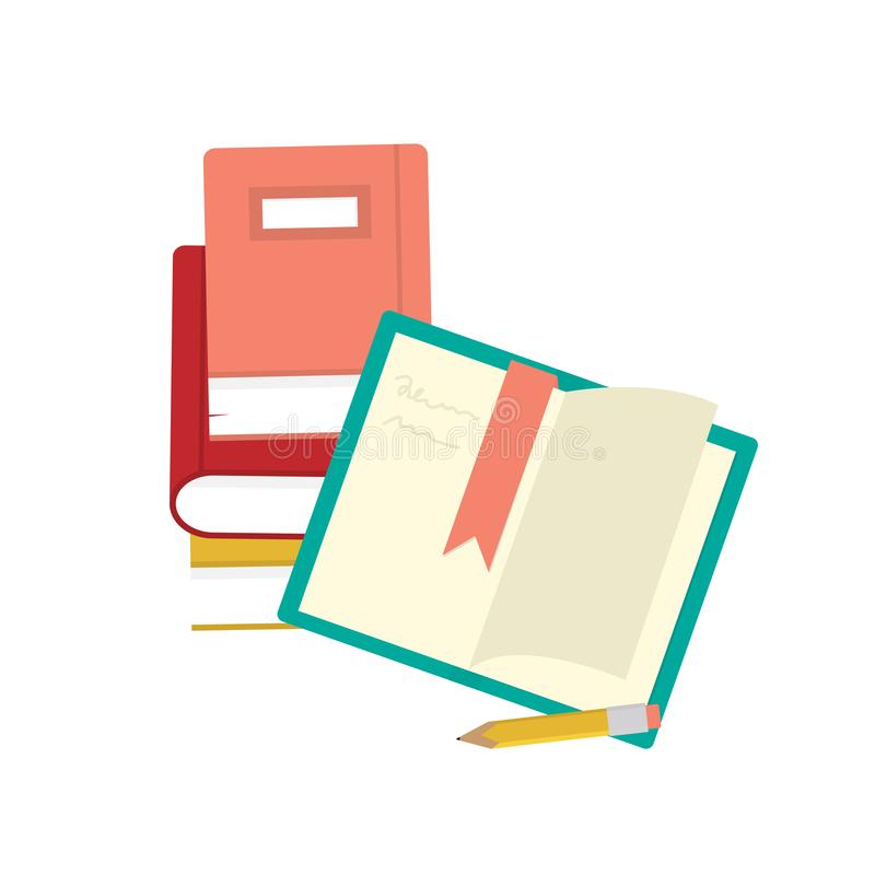 开放书和铅笔 设置书象传染媒介 向量例证