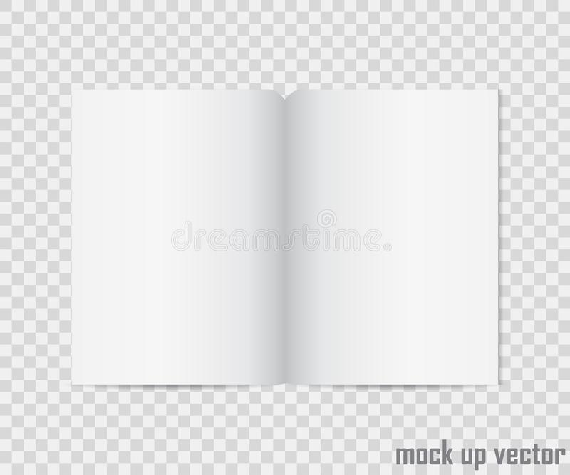 开放书嘲笑在透明背景 现实空白垂直小册子、编目模板、杂志,小册子或者不 库存图片