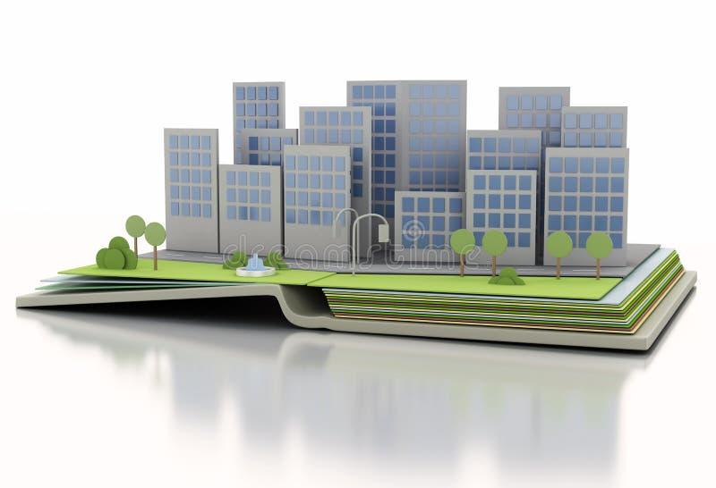开放书的城市 3D例证概念 库存例证