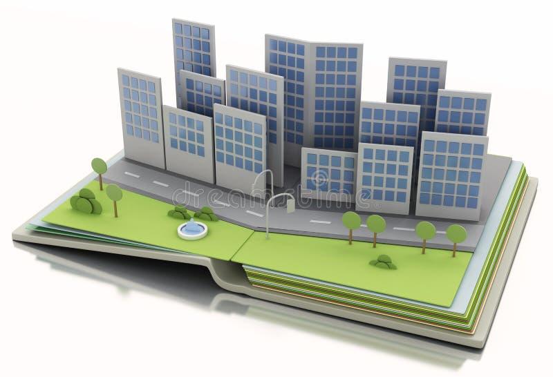 开放书的城市 3D例证概念 皇族释放例证