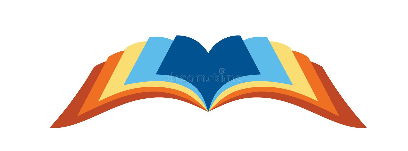 开放书的徽标 库存例证