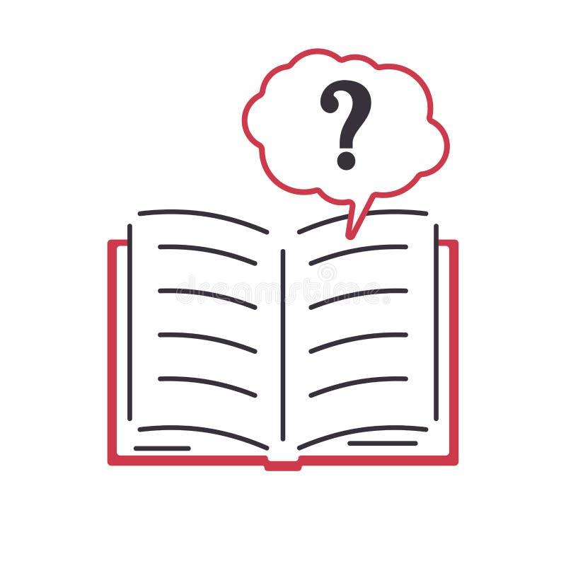 开放书问号 在平的样式的颜色象 标志的常见问题解答,帮助的设计,学会 向量例证