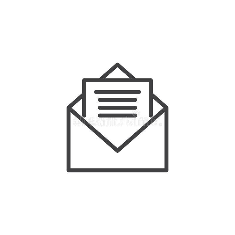 开放信封邮件线象 库存例证