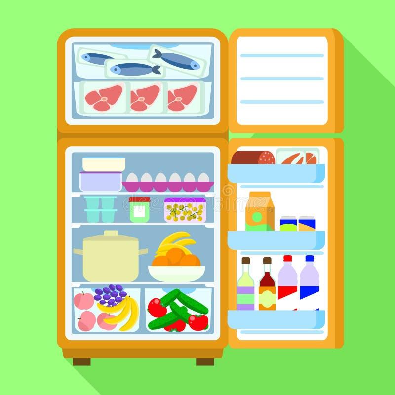 开放充分的冰箱象,平的样式 向量例证