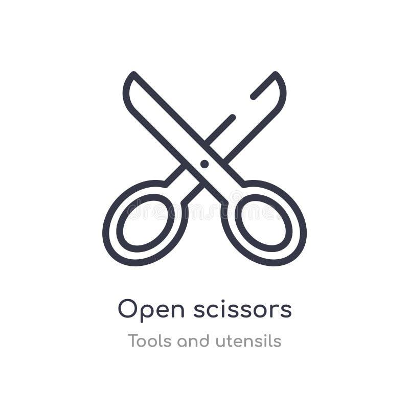 开放剪刀概述象 被隔绝的线从工具和器物汇集的传染媒介例证 开放编辑可能的稀薄的冲程 皇族释放例证