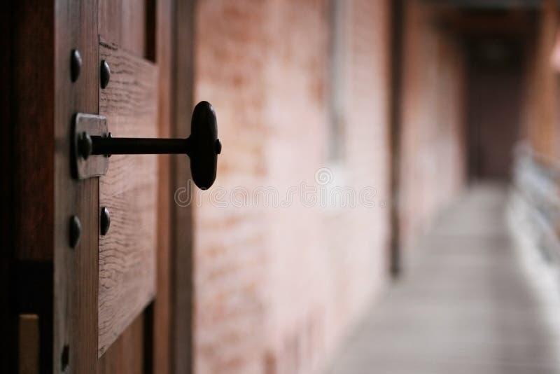 开放古老的门 库存照片