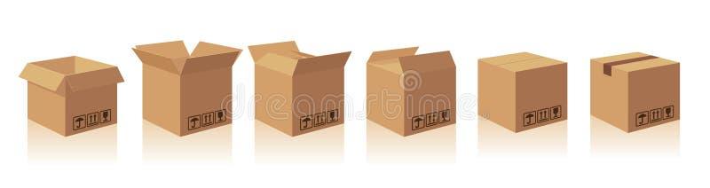 开放和闭合回收棕色有易碎的标志的纸盒交付包装的箱子 汇集有s的例证箱子 皇族释放例证