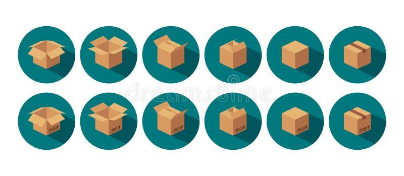 开放和闭合回收棕色纸盒交付包装的箱子 皇族释放例证