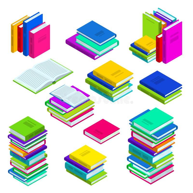 开放和闭合的书籍和被堆积的书 多色传染媒介等量象集合 图书馆、研究和教育标志 库存例证