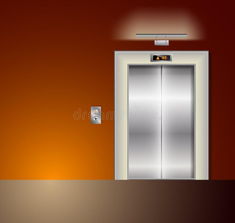 开放和闭合的现代金属电梯门 在橙色颜色的霍尔内部 向量例证