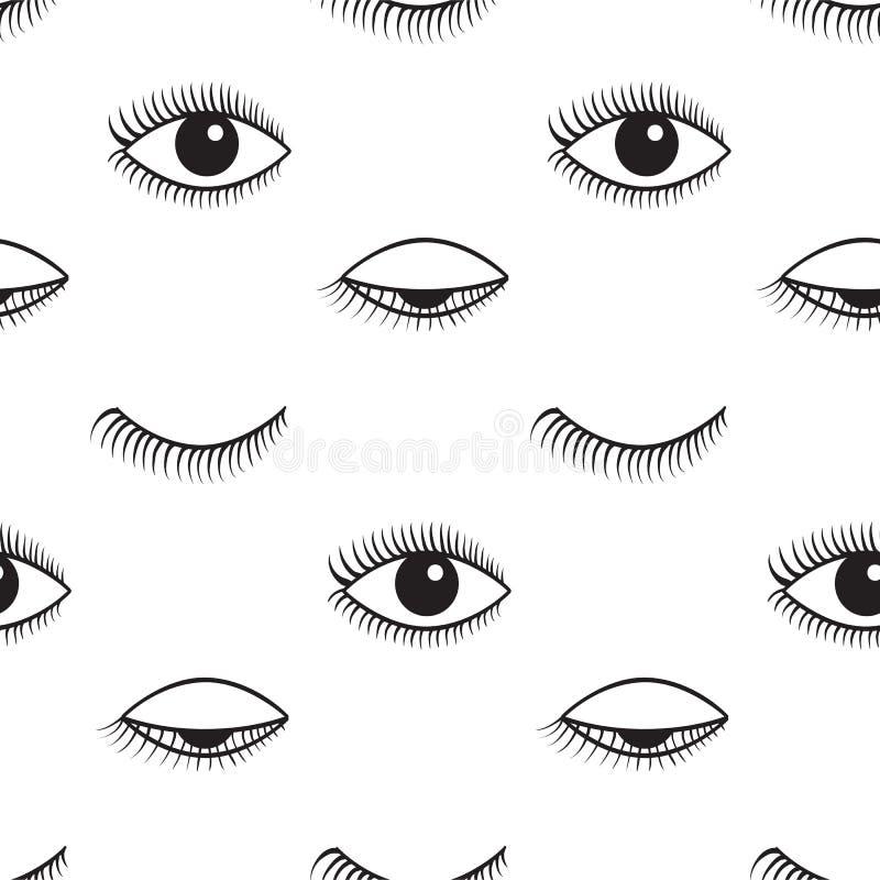 开放和闭合的眼睛传染媒介无缝的样式 皇族释放例证