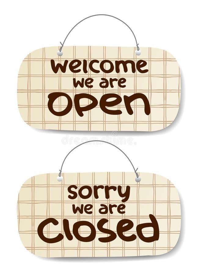 开放和闭合的符号 库存例证