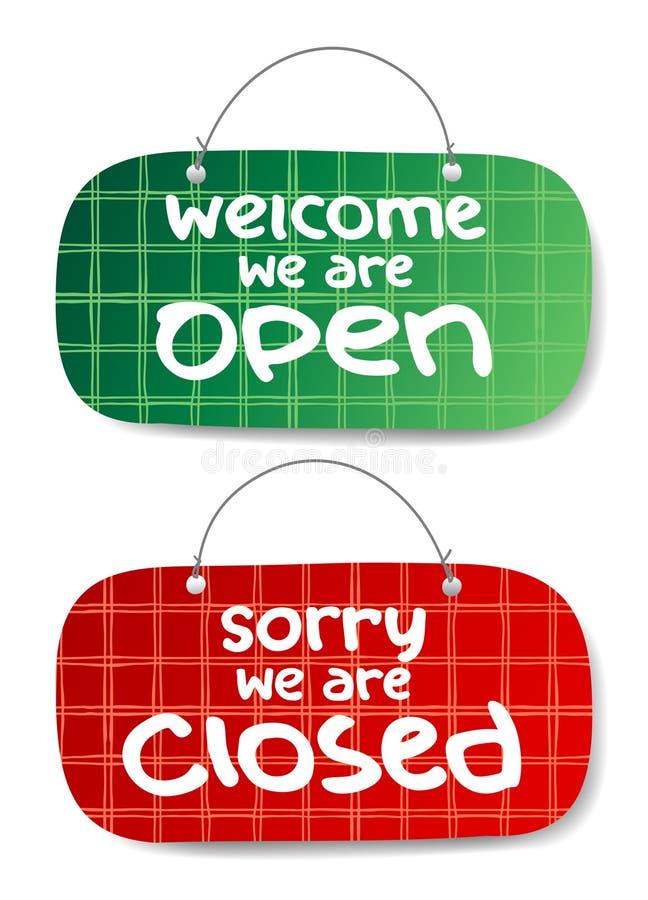 开放和闭合的符号 向量例证