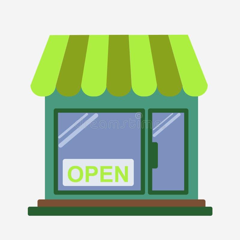 开放商店的前面 向量例证