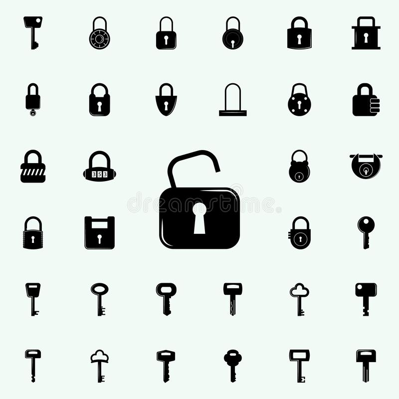 开放图标的锁定 锁和钥匙象全集网和机动性的 皇族释放例证