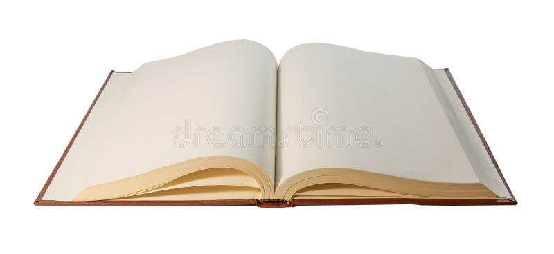 开放在白色背景隔绝的书空白纸 免版税库存照片