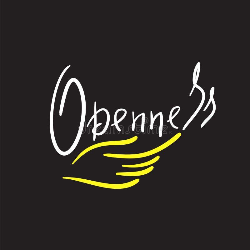 开放性-简单启发和诱导行情 手拉的美好的字法 为激动人心的海报, T恤杉,袋子,古芝打印 库存例证