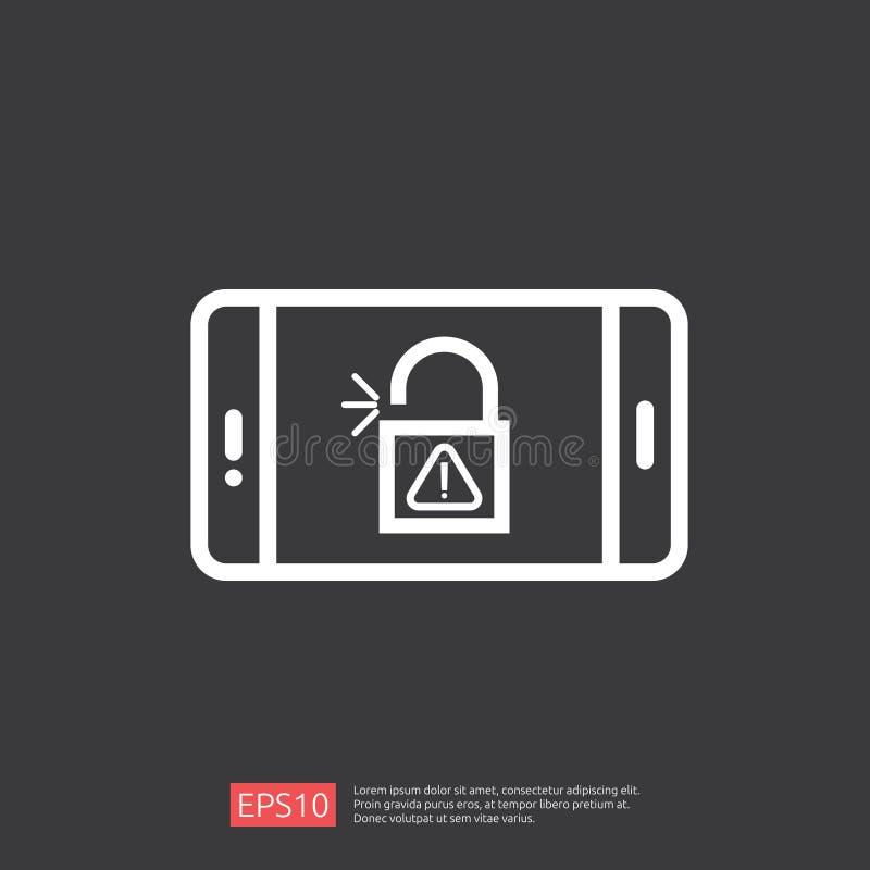 开放打开在电话屏幕象的挂锁 警告注意的通入机敏的标志标记标志 安全巩固个人用户authorizat 向量例证