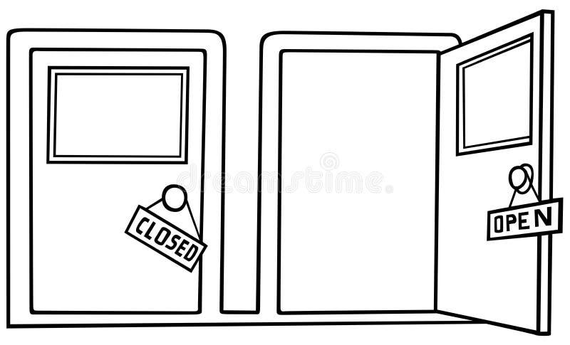 开放接近的门 库存例证