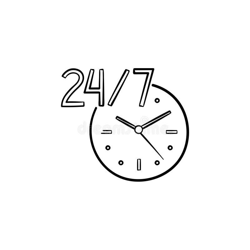 24-7开放服务手拉的概述乱画象 向量例证