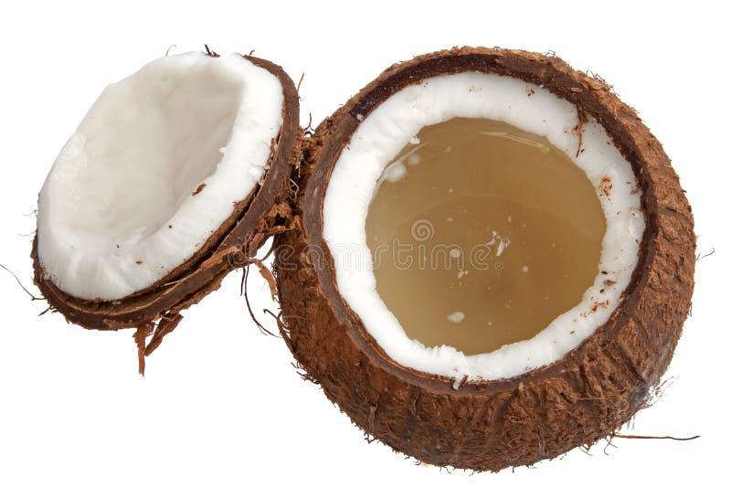 开放椰子的一半 库存图片