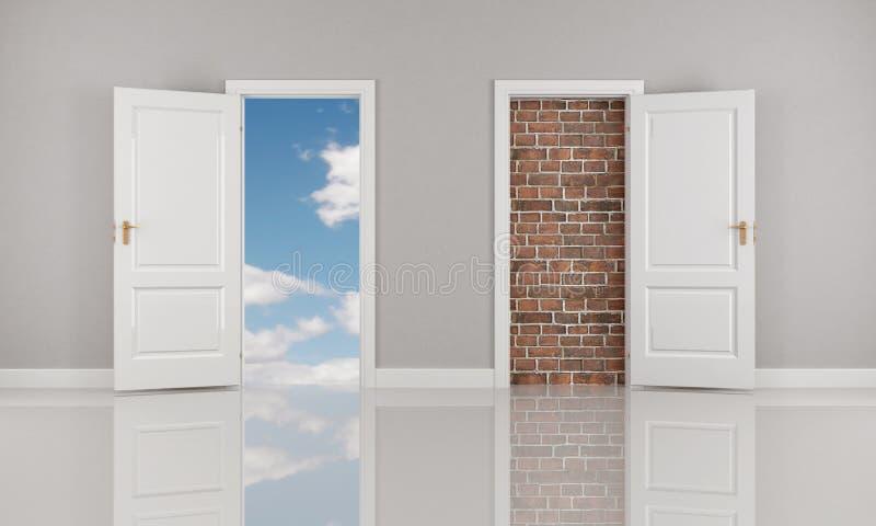 开放概念性的门 库存例证